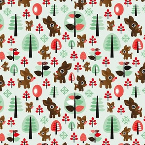 Retro reindeer christmas in powder pastel mint SMALL