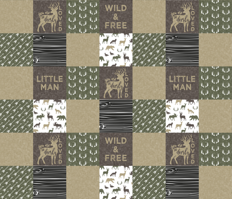 Little Man/Wild & Free - Woodland patchwork - C2 Linen fabric by littlearrowdesign on Spoonflower - custom fabric
