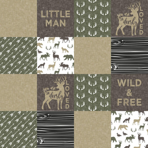 Little Man/Wild & Free - Woodland patchwork - C2 Linen