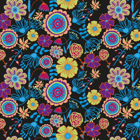 Nature in the dark fabric by nici_gabriel_designs on Spoonflower - custom fabric