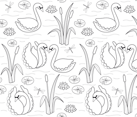 color book swans fabric by heleenvanbuul on Spoonflower - custom fabric