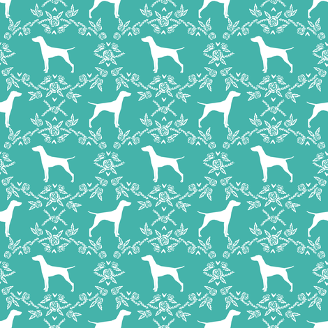Vizsla silhouette floral pattern dog breed turquoise - smaller fabric by petfriendly on Spoonflower - custom fabric