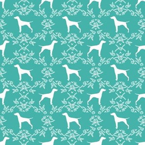 Vizsla silhouette floral pattern dog breed turquoise - smaller