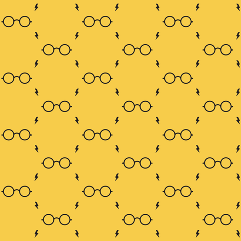 wizard's glasses - gold fabric by stofftoy on Spoonflower - custom fabric