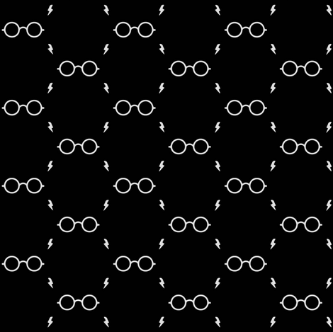 wizard's glasses - black fabric by stofftoy on Spoonflower - custom fabric