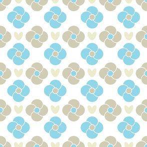 Modern Botanical Flowers, Subtle Light Blue and Tan on White, Large Florals