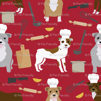 pitbull chef fabric cute pitbulls design - red