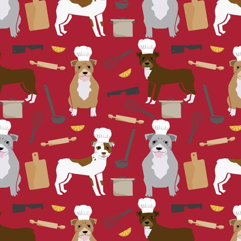 pitbull chef fabric cute pitbulls design - red fabric by petfriendly on Spoonflower - custom fabric