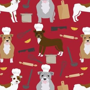 pitbull chef fabric cute pitbulls design - red