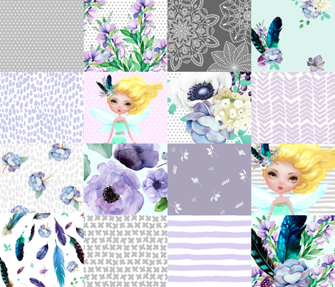 FAIRY / TEAL, AQUA, GREY & WHITE / WHOLE CLOTH / CHEATER QUILT fabric by shopcabin on Spoonflower - custom fabric