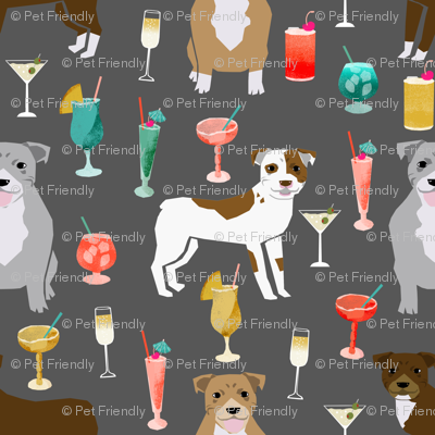 pitbulls cocktails fabric cute pitbull dogs and mixed drinks - grey