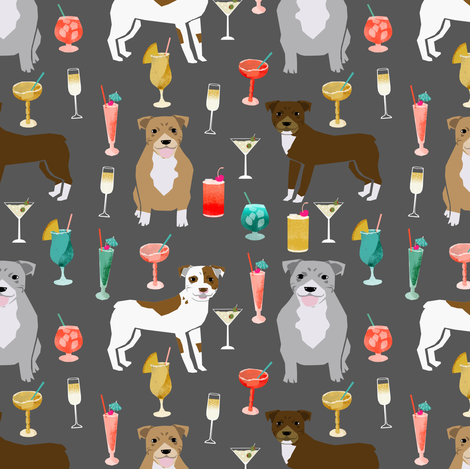 pitbulls cocktails fabric cute pitbull dogs and mixed drinks - grey fabric by petfriendly on Spoonflower - custom fabric