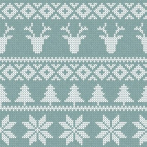 fair isle deer (blue) || snowflake || winter knits