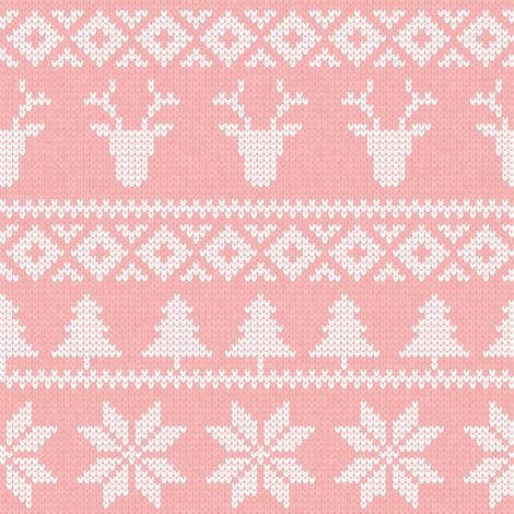 fair isle deer (light pink) || snowflake || winter knits fabric by littlearrowdesign on Spoonflower - custom fabric