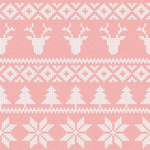 fair isle deer (light pink) || snowflake || winter knits