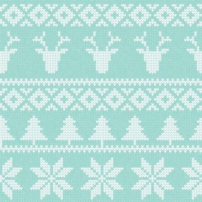 fair isle deer (light blue) || snowflake || winter knits