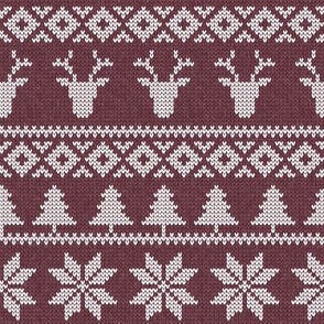 fair isle deer (mulberry) || snowflake || winter knits