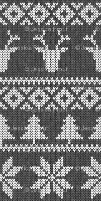 fair isle deer (dark grey) || snowflake || winter knits