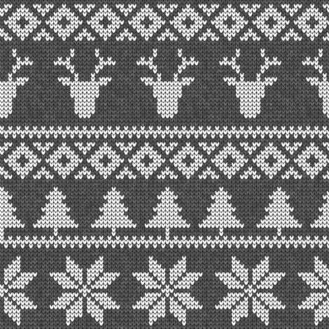 fair isle deer (dark grey) || snowflake || winter knits fabric by littlearrowdesign on Spoonflower - custom fabric