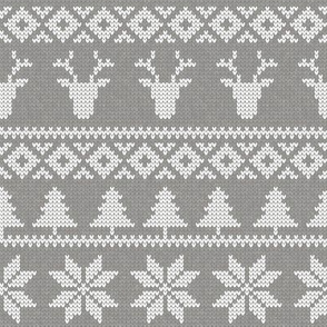fair isle deer (grey) || snowflake || winter knits