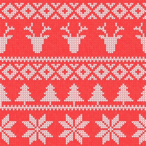 fair isle deer ( b red) || snowflake || winter knits fabric by littlearrowdesign on Spoonflower - custom fabric