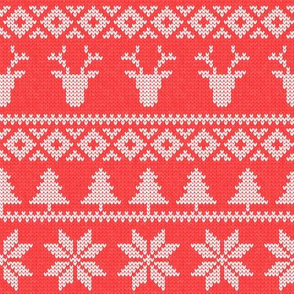 fair isle deer ( b red) || snowflake || winter knits