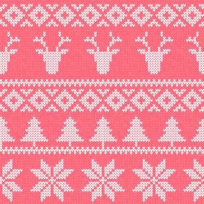 fair isle deer (pink) || snowflake || winter knits