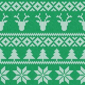 fair isle deer (b green) || snowflake || winter knits