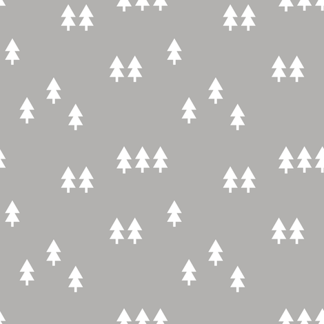 trees ||  grey fabric by littlearrowdesign on Spoonflower - custom fabric