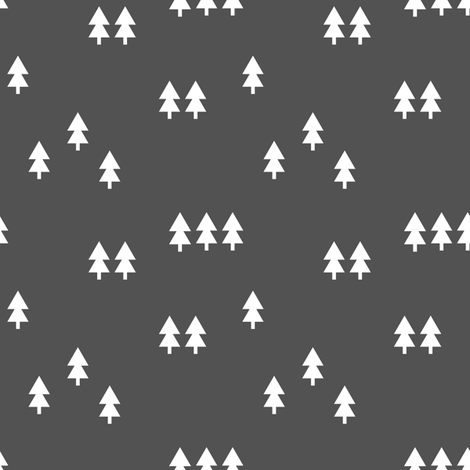 trees || dark grey fabric by littlearrowdesign on Spoonflower - custom fabric