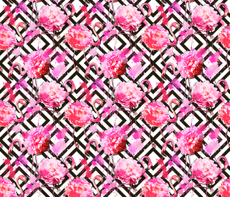 flamingo floral geometric small fabric by karismithdesigns on Spoonflower - custom fabric