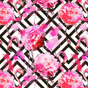 flamingo floral geometric medium