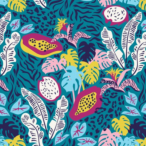 Tigers and jaguars hiding in tropical leaves_1 fabric by solnca_lych on Spoonflower - custom fabric