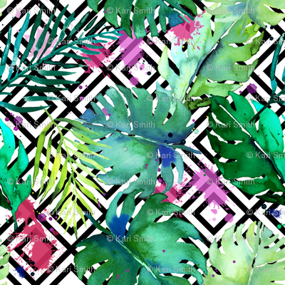 green tropical plants with geometric medium