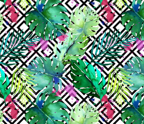 green tropical plants with geometric medium fabric by karismithdesigns on Spoonflower - custom fabric