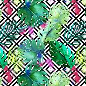 green tropical plants with geometric medium