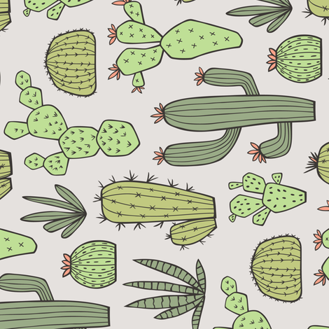 Cactus in Green Rotated fabric by caja_design on Spoonflower - custom fabric