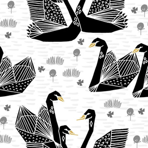 swans // black and white birds bird swan pond girls sweet baby nursery - LARGE version