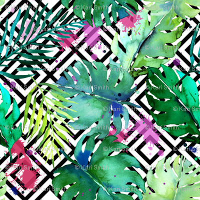 green tropical plants with geometric small