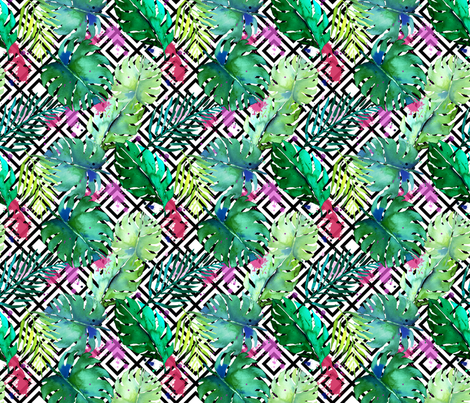 green tropical plants with geometric small fabric by karismithdesigns on Spoonflower - custom fabric