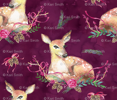 fawn and winter floral