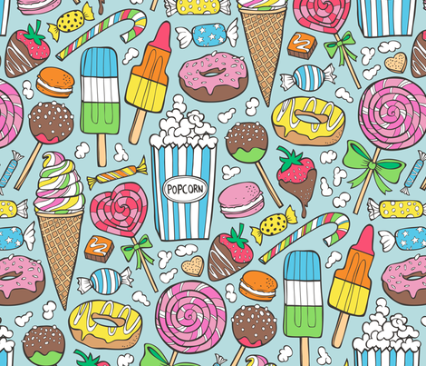 Sweets,Ice Cream,Donuts and Candy Larger fabric by caja_design on Spoonflower - custom fabric