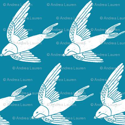 swallow // woodland bird nature animal swallows nursery fabric blue