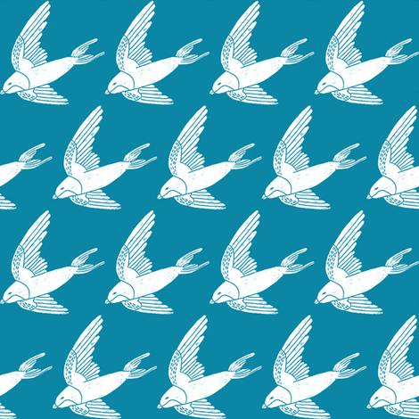 swallow // woodland bird nature animal swallows nursery fabric blue fabric by andrea_lauren on Spoonflower - custom fabric