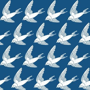 swallow // woodland bird nature animal swallows nursery fabric med blue