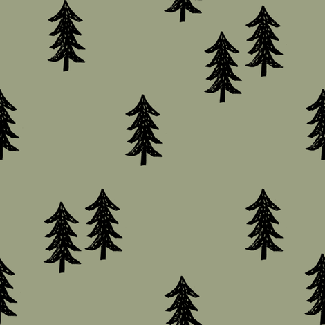 tree // minimal outdoors camping woodland nature forest basic nursery tree fabric artichoke fabric by andrea_lauren on Spoonflower - custom fabric
