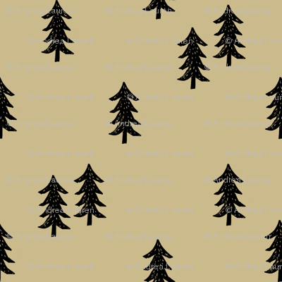 tree // minimal outdoors camping woodland nature forest basic nursery tree fabric khaki