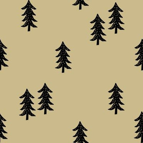 tree // minimal outdoors camping woodland nature forest basic nursery tree fabric khaki