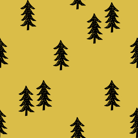 tree // minimal outdoors camping woodland nature forest basic nursery tree fabric mustard fabric by andrea_lauren on Spoonflower - custom fabric