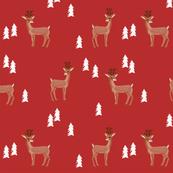rudolph reindeer christmas deer santa's sleigh fabric for winter decor red